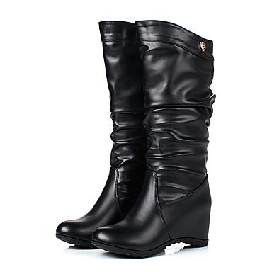 Mode Noir Mi Hiver à 06384256 Similicuir Chaussures la Bottes mollet Femme rond Bottes Blanc Automne Bout Marron Bottes Boucle qaRFx0