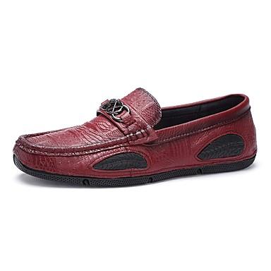 Męskie Buty Derma Skóra Zima Wiosna Comfort Mokasyny i pantofle na Casual Black Brown Czerwony Khaki