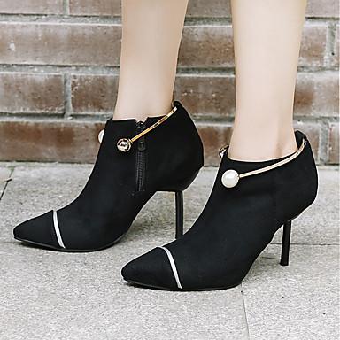 Bottine pointu Cuir Bout Aiguille Printemps Demi Vin Imitation Femme Nubuck Perle 06551602 Chaussures Botillons Bottes Talon Botte Noir Hiver P4RqSwx