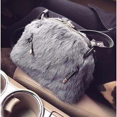Damen Taschen PU Pelz Umhängetasche Federn / Pelzl für Normal Alle Jahreszeiten Grau Purpur