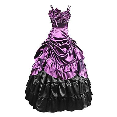 Mittelalterlich Viktorianisch Gothic Kostüm Damen Kleid Maskerade Party Kostüme Purpur Vintage Cosplay Modal