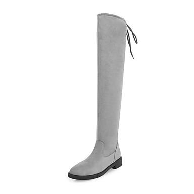 Damen Schuhe Nubukleder Herbst Winter Modische Stiefel Stiefel Runde Zehe Oberschenkel-hohe Stiefel Für Normal Kleid Schwarz Grau Rot