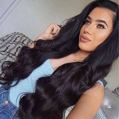 Włosy remy Koronkowy przód Peruka Włosy peruwiańskie Body wave Z baby hair 130% Gęstość 100% Dziewica Peruka afroamerykańska Naturalna