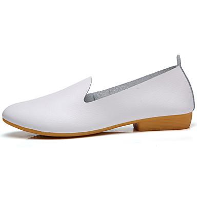 Damen Schuhe Leder Frühling Komfort Loafers & Slip-Ons Runde Zehe Blume / Kombination Weiß / Schwarz