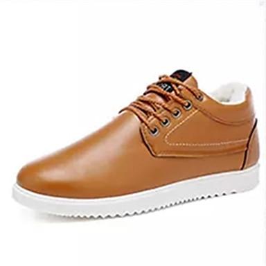 Miesten kengät PU Kevät Syksy Comfort Oxford-kengät Solmittavat varten Kausaliteetti Musta Sininen Tumman ruskea