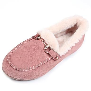 Damen Schuhe Wildleder Winter Mokassin Loafers & Slip-Ons Runde Zehe Strass für Normal Schwarz Braun Rosa