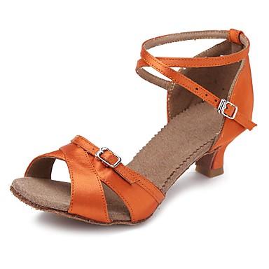 Damskie Buty do latino Satyna Sandały / Na obcasie Kubański Personlaizowane Buty do tańca Orange / Domowy