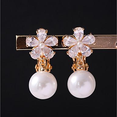 Damskie Kolczyki z klipsem Cyrkonia Pearl imitacja Kwiatowy Stop Biżuteria Gold Ślub Codzienny Biżuteria kostiumowa