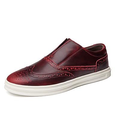 Męskie Komfortowe buty Skóra / Sztuczna skóra Wiosna / Lato Mokasyny i buty wsuwane Czarny / Brązowy / Wino