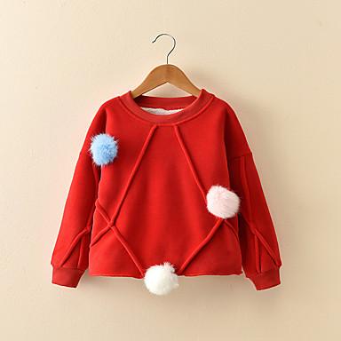 baratos Blusas para Meninas-Bébé Para Meninas Desenho Sólido Manga Longa Padrão Algodão Blusa Vermelho / Fofo