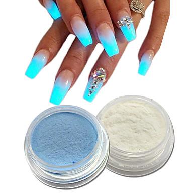 2pcs Acrylic Powder Nail Glitter Sparkle Shine Luminous Nail