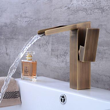 Łazienka kran zlew - Wodospad Antique Copper Umieszczona centralnie Pojedynczy uchwyt jeden otwór