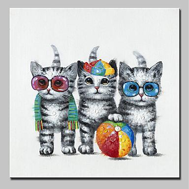 Hang-Malowane obraz olejny Ręcznie malowane - Zwierzęta Zwierzęta Nowoczesny Zwinięte płótna / Zwijane płótno