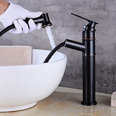 Bateria do umywalki łazienkowej - Szeroko rozstawiona Brąz przetarty olejem Umieszczona centralnie Jeden uchwyt Jeden otwór