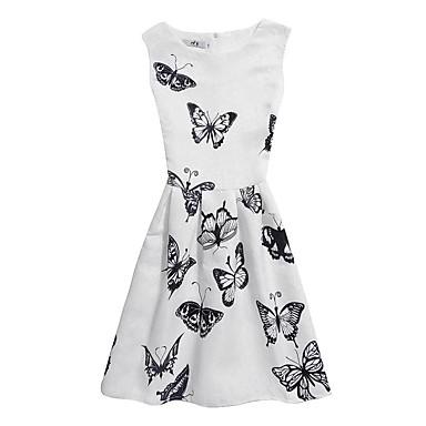 Dzieci Dla dziewczynek Casual Wyjściowe Kwiaty / Żakard / Motyl Bez rękawów Sukienka / Bawełna / Śłodkie / Księżniczka