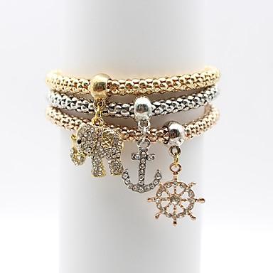 baratos Pulseira de Corrente-Mulheres Pulseiras em Correntes e Ligações Elefante Ancora senhoras Simples Elegante Liga Pulseira de jóias Dourado Para Diário Para Noite