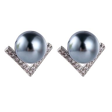 Damskie Kolczyki na sztyft Podstawowy Imitacja pereł Stop Geometric Shape Biżuteria White Gray Impreza Codzienny Biżuteria kostiumowa