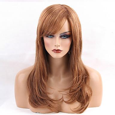 Ludzkie Włosy Capless Peruki Włosy naturalne Naturalne fale Część Boczna Długo Tkany maszynowo Peruka Damskie