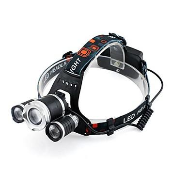 billige Lommelykter & campinglykter-GELE028AS Hodelykter 2000 lm XM-L2 T6 emittere 4.0 lys tilstand med batterier Zoombare Profesjonell Camping / Vandring / Grotte Udforskning Dagligdags Brug Sykling Svart