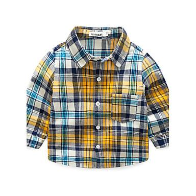 Jungen Hemd Baumwolle Herbst Langarm Gelb