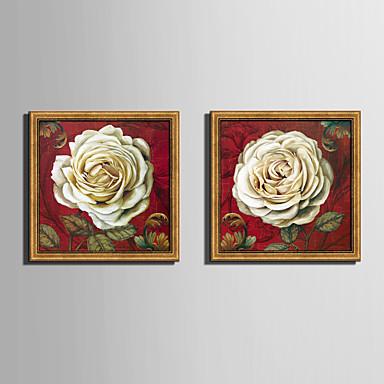 Oprawione płótno Zestaw w oprawie Kwiatowy/Roślinny Botaniczny Wall Art, PVC (polichlorek winylu) Materiał z ramą Dekoracja domowa rama