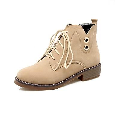 Damen Schuhe Kunstleder Herbst Winter Komfort Stiefel Runde Zehe Booties / Stiefeletten Schnürsenkel Für Kleid Party & Festivität Schwarz