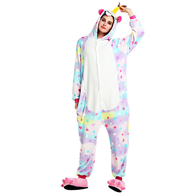 Adults' Kigurumi Pajamas Unicorn Flying Horse Onesie Pajamas Flannel Fabric Rainbow Cosplay For Men and Women Animal Sleepwear Cartoon Halloween Festival / Holiday