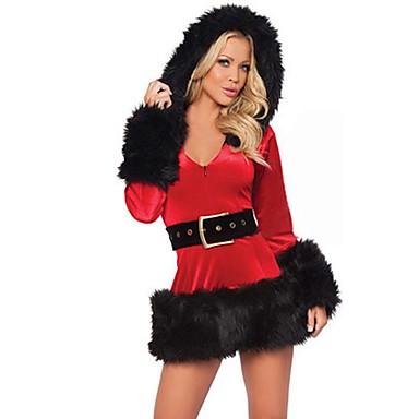 Urlaub Weihnachtsmann FrauClaus Austattungen Frau Weihnachten Fest / Feiertage Halloween Kostüme Weiß Schwarz Solide