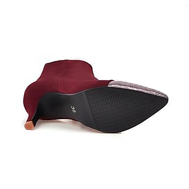 la Automne Printemps Botte 06385178 Cuir Bout Demi Rouge pointu Chaussures à Noir Mode Nubuck Bottes Femme Bottes Bottine Mariage twI0WHUq