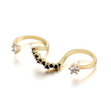 Damskie Pierścień oświadczenia Cyrkonia Gold Silver Cyrkon Miedź Posrebrzany Pozłacane Falowane Prosty Podstawowy Modny Impreza Wyjściowe