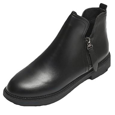Damskie Obuwie PU Zima Modne obuwie Comfort Buciki Okrągły Toe Kozaczki / kozaki do kostki na Casual Black