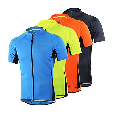Arsuxeo Herrn Kurzarm Fahrradtrikot - Orange Hellgelb Hellblau Dark Gray Fahhrad Trikot/Radtrikot, Rasche Trocknung, Anatomisches Design,