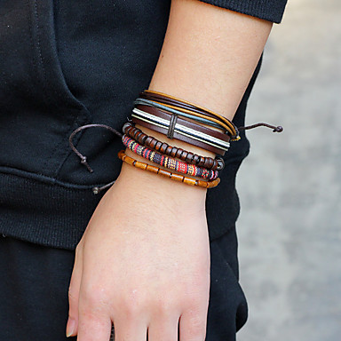 voordelige Herensieraden-Heren Armband Touw Statement Rock Hip-hop Oversized Rips Armband sieraden Bruin Voor Dagelijks Causaal