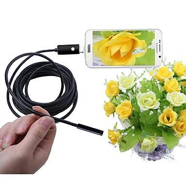 2 w 1 endoskop USB 5,5 mm obiektyw ip67 wodoodporna kamera borescope inspekcja dla systemu Android wąż kamera 5 m kabel czarny