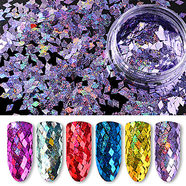 6 flaschen pailletten / lot 6 farben packge diamant bunte laser holographische pailletten 40g ultradünne pailletten