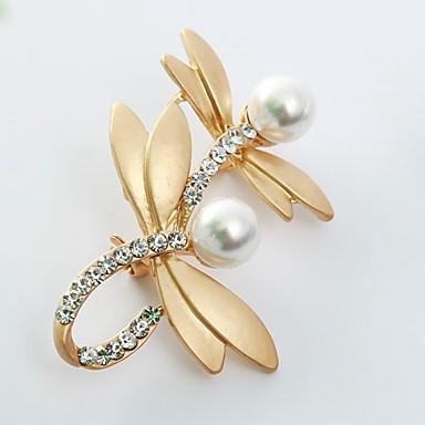 Damskie Broszki Rhinestone Pearl imitacja Zwierzęta Słodkie Imitacja pereł Imitacja diamentu Stop Ważka Gold Silver Biżuteria Na Codzienny
