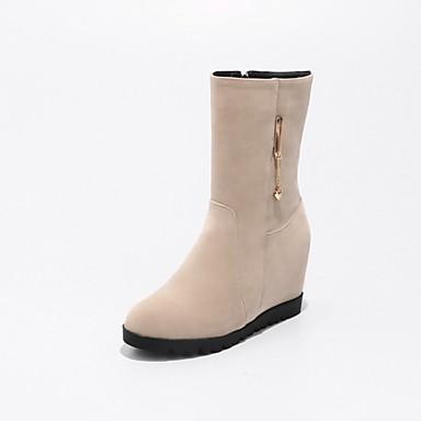 Damen Schuhe Nubukleder Herbst Winter Schneestiefel Stiefel Runde Zehe Booties / Stiefeletten für Normal Kleid Schwarz Mandelfarben