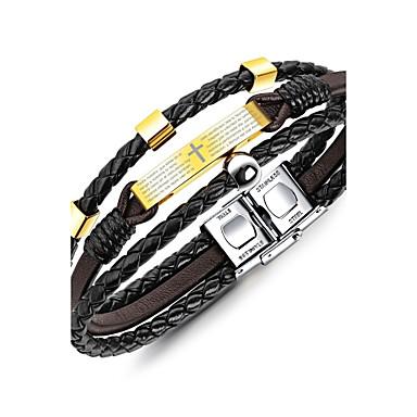 voordelige Herensieraden-Heren Cuff armbanden Armband meetkundig Klassiek Vintage Modieus Elegant Titanium Staal Armband sieraden Goud Voor Lahja Causaal