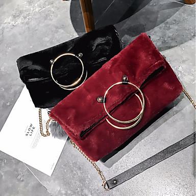 Damen Taschen Polyester Samt Schultertasche Federn / Pelzl Randverzierung für Normal Alle Jahreszeiten Weiß Schwarz Rote Rosa Grau