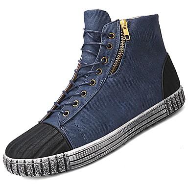 Męskie Buty Materiał Jeans Wiosna Jesień Comfort Tenisówki na Casual Black Dark Blue