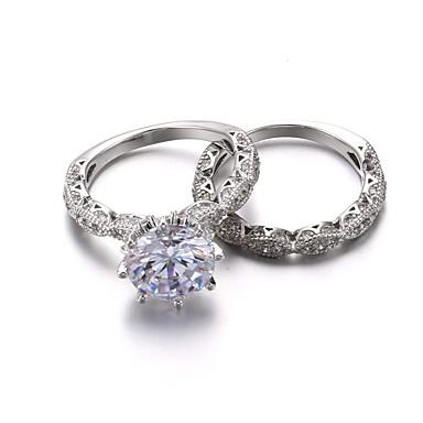 Damskie Cyrkonia Rhinestone Cyrkonia Pozłacane - Księżniczka Klasyczny Vintage Elegancki Silver Pierścień Na Ślub Impreza / bal Party