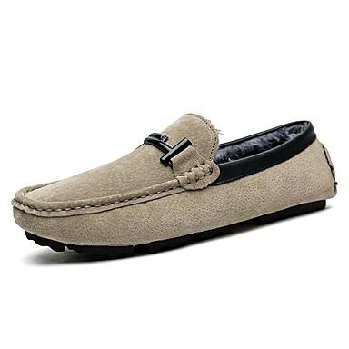 Herren Schuhe Schweineleder Winter Komfort Mokassin Loafers & Slip-Ons Für Normal Schwarz Grau Braun Khaki