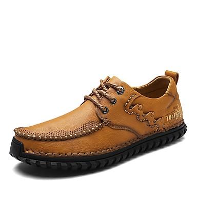 Męskie Buty Skórzany Wiosna Comfort / Modne obuwie Tenisówki Light Brown / Dark Brown