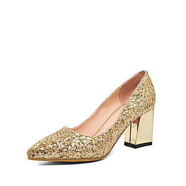 cheap Women's Heels-Women's Glitter Fall Comfort / Novelty Heels Chunky Heel Pointed Toe Gold / Silver / Red / Wedding / Party & Evening / Dress / 2-3 / Party & Evening