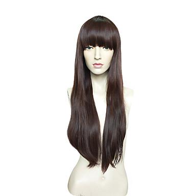 Synthetische Perücken Kinky Glatt Synthetische Haare Braun Perücke Damen Sehr lang Kappenlos