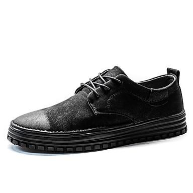 Herren Schuhe PU Frühling Herbst Komfort Sneakers Schnürsenkel Für Normal Schwarz Grau