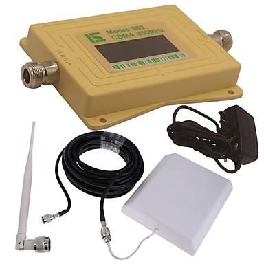Mini intelligente lcd-anzeige cdma980 850 mhz handy signal booster repeater mit outdoor panel antenne / innen peitsche antenne gelb