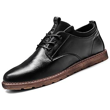 Męskie Buty Nappa Leather Skóra Zima Jesień Comfort Oksfordki na Casual Black Khaki