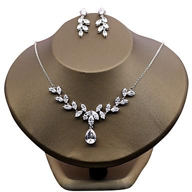 Damskie Cyrkonia Cyrkon Kwiatowy Biżuteria Ustaw - Kwiatowy White Na Ślub Impreza