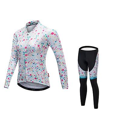 Malciklo Damskie Długi rękaw Koszulka i spodnie na rower - Biały Rower Zestawy odzieży, Szybkie wysychanie, Anatomiczny kształt, Odblaskowe paski Lycra / Elastyczny / a / Wysoka elastyczność